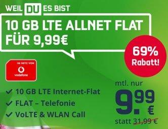 10 GB LTE Vodafone Allnet Flat für 9,99€