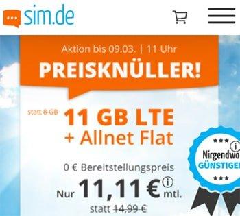 11 GB Tarif LTE Allnet Flat für 11,11€