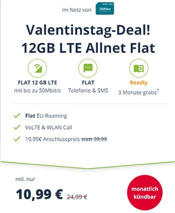 12 GB LTE o2 Allnet Flat für 10,99€ | ohne Laufzeit