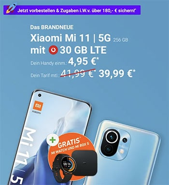 30 GB LTE Vodafone Smart XL (GigaKombi) ab 39,99€ mit iPhone 12 (mini), Xiaomi Mi 11, Galaxy S21 ab 4,95€