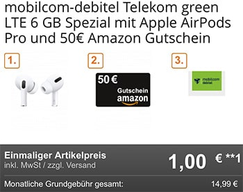 6 GB Telekom LTE Allnet Flat für 14,99€ mit Smartphone ab 1€ | TOP-Deal: Apple AirPods Pro + 50€ Amazon Gutschein für 1€