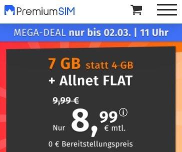 7 GB PremiumSIM LTE Allnet Flat für 8,99€ | 2 GB Flat für 4,99€ | 6 GB Flat für 6,99€