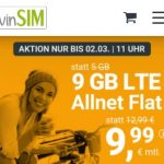 winSIM 9 GB Allnet Flat für 9,99€ | 3 GB Allnet Flat für 5,99€