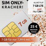 7 GB Crash Vodafone LTE Allnet Flat für 7,99€