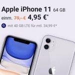o2 Free M Boost (40 GB LTE) mit Apple iPhone 11, Galaxy S20 FE, Google Pixel 5 ab 4,95€