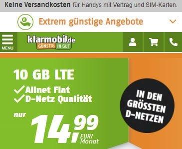 Klarmobil Allnet Flat Tarife im Telekom Netz | 5 GB für 9,99€ | 10 GB für 14,99€