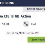 10 GB LTE Vodafone Allnet Flat für 14,99€ / Monat | 18 GB Flat für 17,99€ / Monat