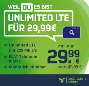 Mobilcom o2 Free Unlimited Max (unbegrenztes Datenvolumen) für 29,99€