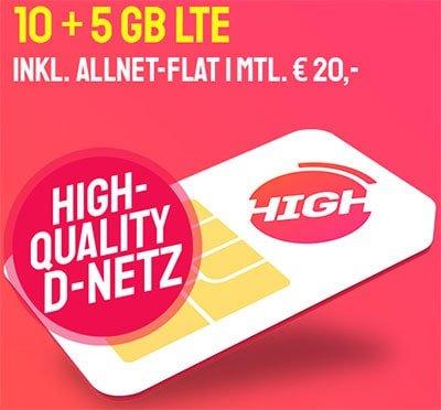 HIGH Mobile 5 GB Telekom LTE Allnet Flat ab 10€ pro Monat | 15 GB Flat ab 20€ | ohne Anschlussgebühr