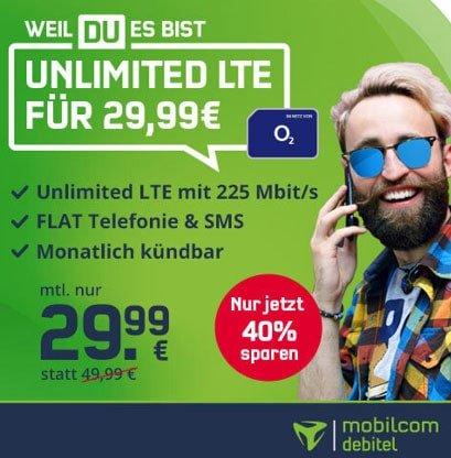 Mobilcom o2 Free Unlimited Max (unbegrenztes Datenvolumen) für 29,99€ | monatlich kündbar