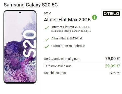 20 GB LTE otelo Allnet-Flat Max für 29,99€ / Monat mit iPhone SE (2020), Galaxy S20 5G für, Google Pixel 4a, Xiaomi Mi 10T Pro ab 4,95€ | Vodafone LTE