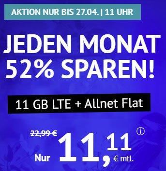 11 GB LTE Allnet Flat für 11,11€ - Handyvertrag.de   ohne Laufzeit