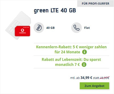20 GB LTE Vodafone Allnet Flat für 19,99€ / Monat | 40 GB Flat für 34,99€ / Monat
