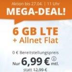 6 GB Tarif LTE Allnet Flat für 6,99€ / Monat