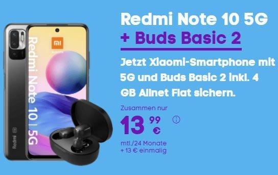 Blau Allnet L (bis zu 5GB LTE) ab 9,99€ mit Xiaomi Redmi 9T, Xiaomi Redmi Note 10 5G mit Xiaomi Buds Basic 2, Oppo A54 5G ab 1€