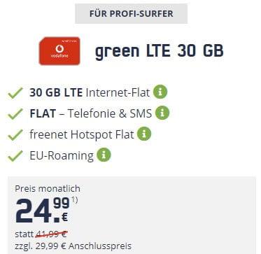 30 GB Mobilcom Debitel Vodafone LTE Allnet Flat für 24,99€ / Monat