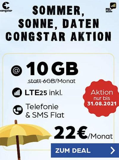 Congstar Allnet Flat M (10 GB) für 22€ mit Galaxy A52 für 4,95€, Google Pixel 4a für 4,95€, Xiaomi Mi 10T Pro für 4,95€ | Telekom LTE Netz