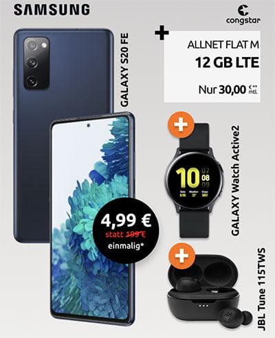 Congstar Allnet Flat L (12 GB LTE) ab 30€ mit Samsung Galaxy S20 FE + Samsung Galaxy Watch Active2 + JBL Tune 115TWS für 4,99€