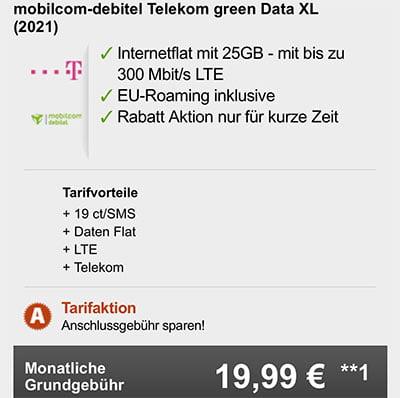 Mobilcom Telekom Green Data XL 25 GB LTE Datentarif für 19,99€ pro Monat