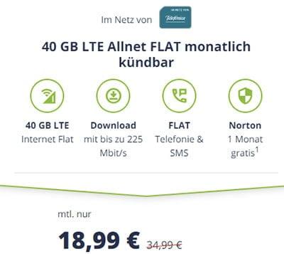 Mobilcom Debitel 40 GB LTE o2 Allnet Flat Tarif für 18,99€   ohne Laufzeit
