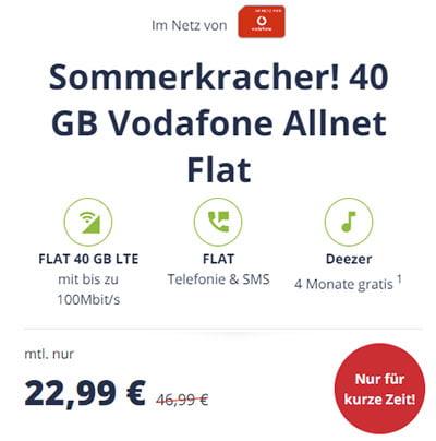 20 GB LTE Vodafone Allnet Flat für 14,99€ / Monat | 40 GB Flat für 22,99€ / Monat