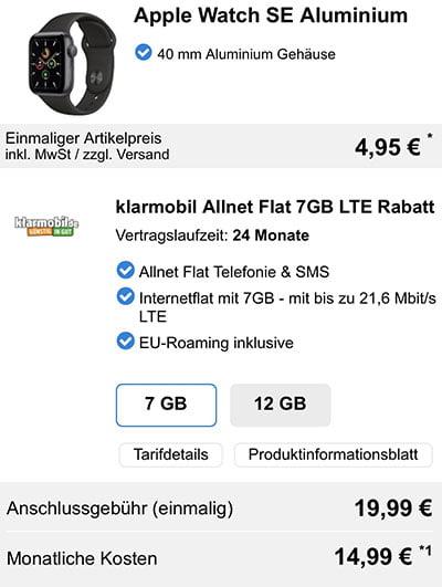 Apple Watch SE für 4,95€ mit Klarmobil Tarif für 4,95€