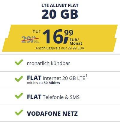 Freenet Mobile Vodafone LTE Allnet Flat Tarife | TOP-Deal: 12 GB für 13,99€ | 20 GB für 16,99€ | monatlich kündbar