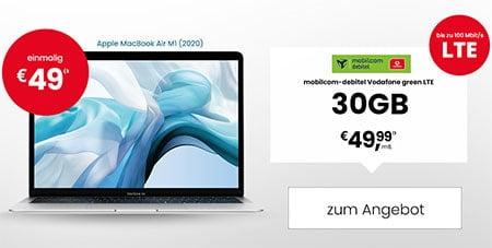 Apple MacBook Air M1 ab 49€ mit Mobilcom Vodafone / Telefonica Vertrag für 49,99€ / Monat