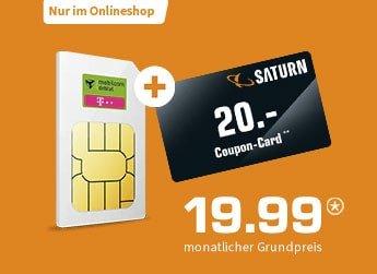 Mobilcom Debitel 26 GB LTE Telekom Allnet Flat Tarif für 19,99€ + 20€ Saturn / MediaMarkt Gutschein