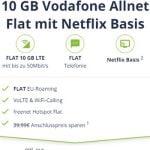 10 GB Mobilcom Debitel Vodafone LTE Allnet Flat mit Netflix Basis für 19,98€ / Monat