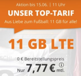 11 GB LTE Tarif für 7,77€ / Monat