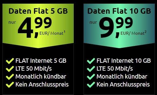 Crash Datentarife: 5 GB für 4,99€ | 10 GB für 9,99€ | monatlich kündbar