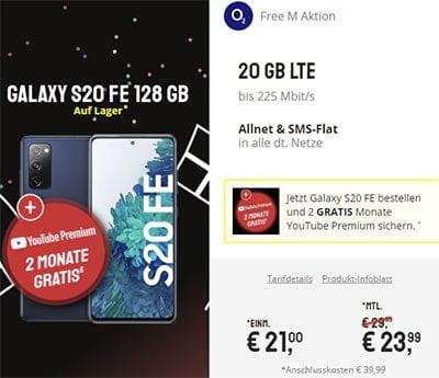 o2 Free M (20 GB LTE) ab 23,99€ mit Xiaomi Mi 10T Pro ab 4,95€   Galaxy S20 FE für 21€