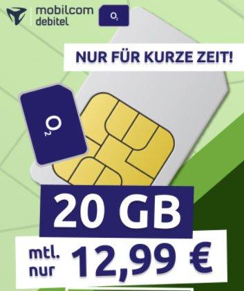 Mobilcom o2 Free M (20 GB) Flat für 12,99€