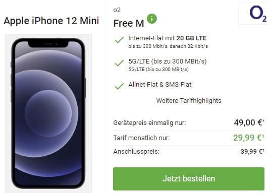 o2 Free M (20 GB LTE) ab 29,99€ mit iPhone 12 mini ab 49€   Galaxy S21 FE ab 99€