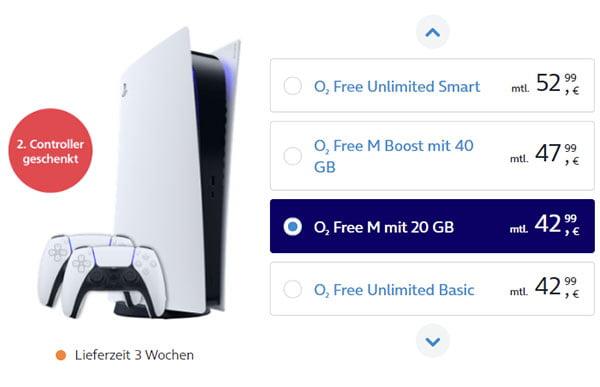 Sony Playstation 5 mit 2 Controller ab 1€ bei o2 mit Vertrag