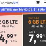 2 GB PremiumSIM LTE Allnet Flat für 4,99€ | 6 GB Flat für 7,99€