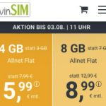 winSIM 4 GB Allnet Flat für 5,99€   8 GB Flat für 8,99€