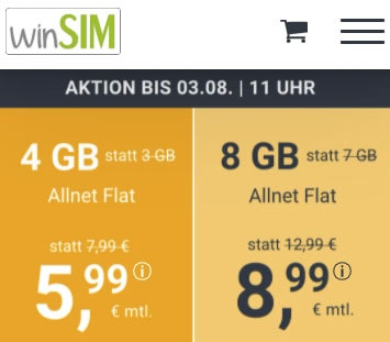 winSIM 4 GB Allnet Flat für 5,99€ | 8 GB Flat für 8,99€