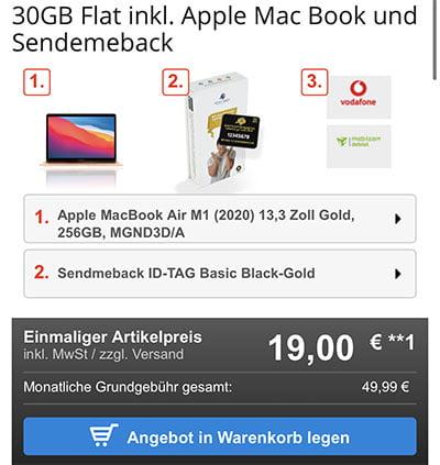 Apple MacBook Air M1 ab 19€ mit Mobilcom Vodafone Vertrag für 39,99€ / Monat