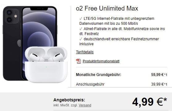 o2 Free Unlimited Max (unbegrenztes Datenvolumen) ab 59,99€ mit iPhone 12 (Pro), Galaxy S21 (Plus), OnePlus 9 Pro ab 4,95€ uvm.