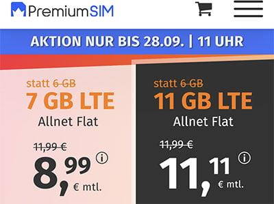 2 GB PremiumSIM LTE Allnet Flat für 4,99€ | 11 GB Flat für 11,11€