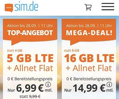 5 GB Allnet Flat für 6,99€   16 GB Allnet Flat für 14,99€