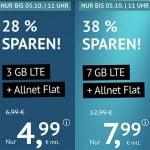 3 GB Flat für 4,99€   7 GB Flat für 7,99€   ohne Laufzeit