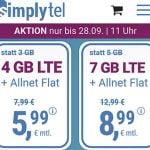 Simplytel 4 GB Flat für 5,99€   7 GB Flat für 8,99€   12 GB Flat für 11,99€