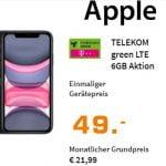 Apple iPhone 11 für 49€ mit MD Green Telekom 6 GB Tarif für 21,99€