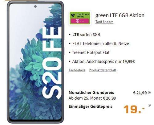 Galaxy S20 FE für 1€ mit MD Green Telekom 6 GB Tarif für 21,99€