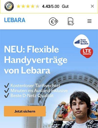 Lebara - Telekom LTE PrePaid Tarife   ohne Laufzeit