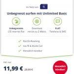 Mobilcom o2 Free Unlimited Basic (unbegrenztes Datenvolumen) für 11,99€ | monatlich kündbar