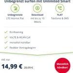 Mobilcom o2 Free Unlimited Smart (unbegrenztes Datenvolumen) für 14,99€ | monatlich kündbar